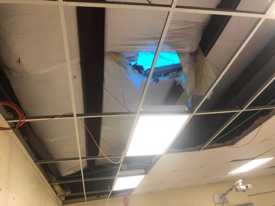 Only one classroom was damaged after a tree fell on Pope Elementary Friday after a storm. The room is in the fourth grade annex on the southeast corner of the school.