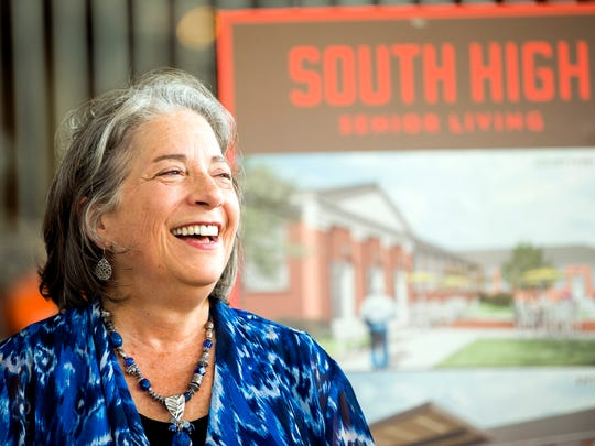 Knoxville Mayor Madeline Rogero laughs during an event at South High in Knoxville on Tuesday, July 9, 2019. South High is currently being redeveloped into a senior living center.