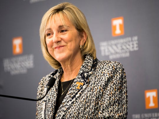 Donde Plowman, the new chancellor of the University of Tennessee-Knoxville, talks about her first week on the job during a press conference at the Howard H. Baker Jr. Center for Public Policy on UT's campus on Tuesday, July 9, 2019.