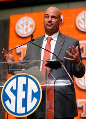 Tennessee football head coach Jeremy Pruitt speaks during Southeastern Conference Media Days on July 18, 2018, in Atlanta.