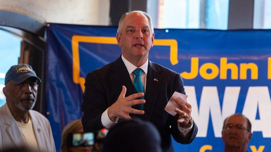 Gov. John Bel Edwards holds a rally at The French Press in Lafayette as part of his re-election campaign tour across Louisiana. Tuesday, July 9, 2019.