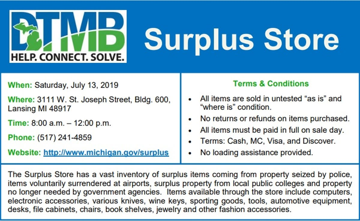State of Michigan surplus sale scheduled for July 13, 2019