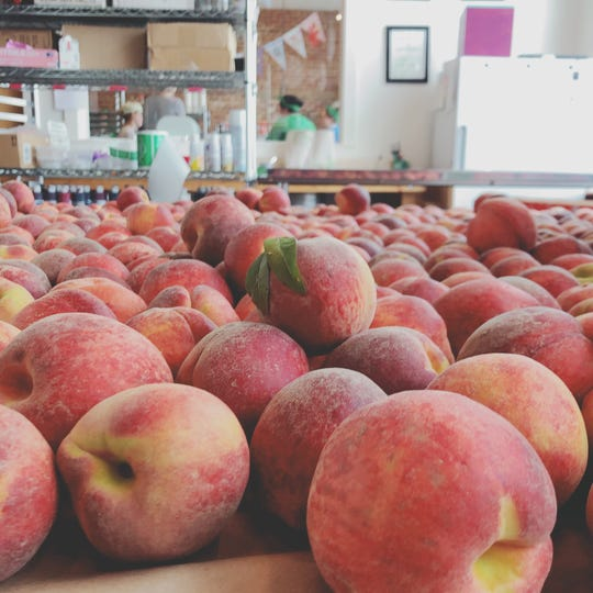 It's a peach party! Muddy's Bake Shop transformed 500 pounds of peaches into pies and crisps.