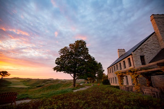 Sunrise outside the clubhouse at Whistling Straits