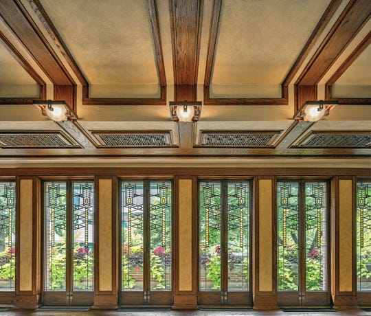 The south balcony doors of the Frank Lloyd Wright-designed Robie House on the University of Chicago campus allow abundant light to flow into the main living areas of the house.