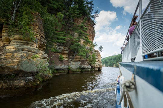 View of  the cliffs on Wisconsin River from Wisconsin Dells Boat Tour.