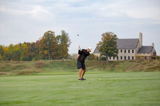 Kohler Golfer swinging iron at Whistling Straits Golf Course