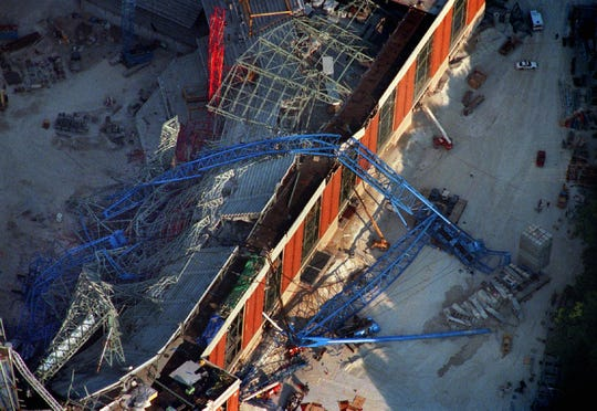 This photo shows the remains of Big Blue, which crashed at Miller Park on  July 14, 1999.