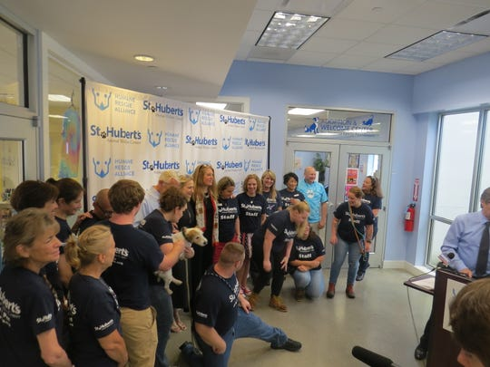 St. Hubert's Animal Welfare Center staffers during a press conference to announce St. Hubert's is merging with the Humane Rescue Alliance of Washington D.C. to create first regional, community-based, multi-state animal welfare organization in the nation.  July 9, 2019