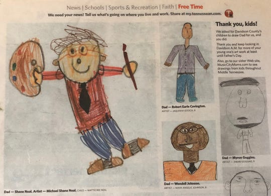 Mattie Ree Neal's drawing of her dad, portrait artist Michael Shane Neal, won a Father's Day contest in The Tennessean in 2007.