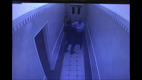 "Surveillance footage in the County Administration Building shows Sumner County Commissioner Merrol Hyde allegedly assault Commissioner Paul Goode in the hallway after a ""lengthy"" meeting on June 17."
