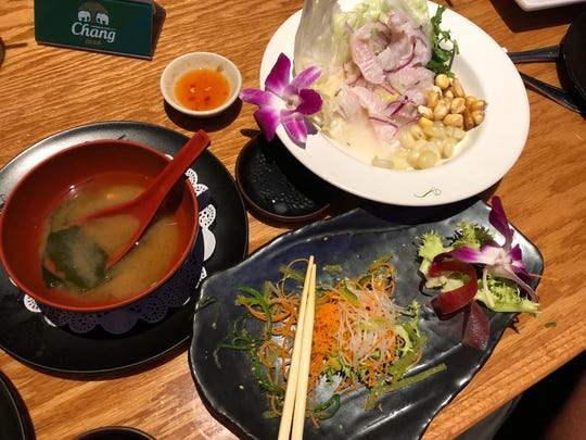 Ceviche de pescado, miso soup and seaweed salad from Komoon in North Naples.