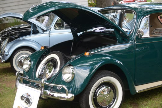 Photo taken July 10, 2016 in River Edge, NJ at the River Edge Cultural Center's 15th annual car show. Here, a pair of VW Beetles are on display.