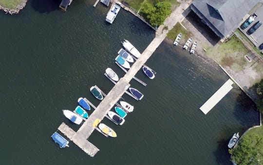 Drone image of docked boats on Lake Hopatcong during the Harmful Algal Bloom on Tuesday, July 9, 2019, in Mount Arlington.