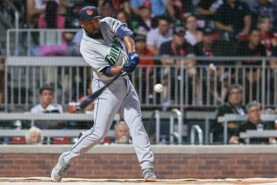 Travis Demeritte of the Gwinnett Stripers participates in the 2019 Triple-A All-Star Game Home Run Derby at Southwest University Park in El Paso on Monday, July 8, 2019.