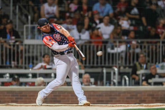 Ty France of the El Paso Chihuahuas participates in the 2019 Triple-A All-Star Game Home Run Derby at Southwest University Park in El Paso on Monday, July 8, 2019.