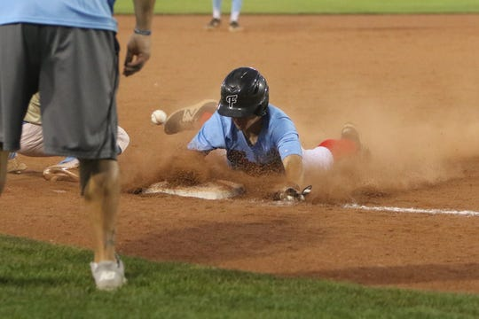 4C-18's Austin Simmons beats the throw to third base against the Connie Mack Oilers during Monday's Connie Mack World Series City Tournament game at Ricketts Park in Farmington.