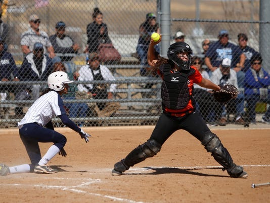 Aztec softball alumni Kylie Brown, seen here in a game against Silver on March 4, 2017, was named Yavapai College's student-athlete of the year for the 2018-2019 season. Brown hit .459 with 18 home runs during the 2019 National Junior College Athletic Association Region I softball tournament.