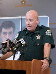 Sheriff Bob Johnson speaks during a press conference at the Santa Rosa County Sheriff's Office in Milton on Tuesday, July 9, 2019.