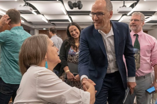Democratic National Committee Chair Tom Perez greets LD 24 district Rep Jennifer Longdon.