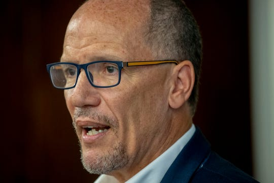 Democratic National Committee Chair Tom Perez speaks to media at Ability 360 in Arizona, Tuesday, July, 9, 2019, to help lay the groundwork for Democrats in 2020 election.