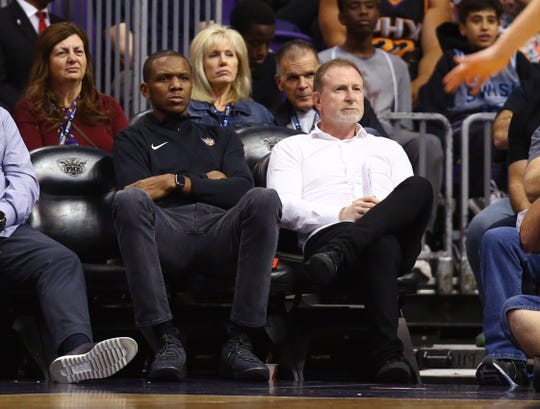 Recent NBA power rankings are not kind to Phoenix Suns owner Robert Sarver (right) and general manager James Jones.