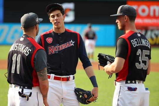 Mike Moustakas, Christian Yelich y Cody Bellinger, representantes de la Liga Nacional en el Juego de Estrellas 2019.