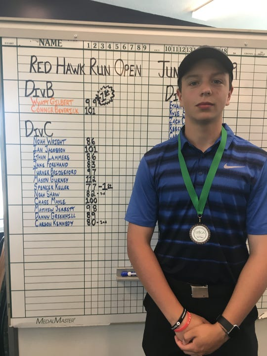 Port Clinton's Noah Shaw carded 82 to finish third in an LEJGA event at Red Hawk Run.