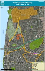A map of the City and Town of Poughkeepsie highlighting the current trail system. It also marks where a proposed trail system would be in Dutchess County.
