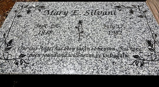 A photo taken on July 9, 2019, showing a marker that was donated and will be placed at Mary Silvani's grave site at the Our Mother of Sorrows Cemetery in northwest Reno.