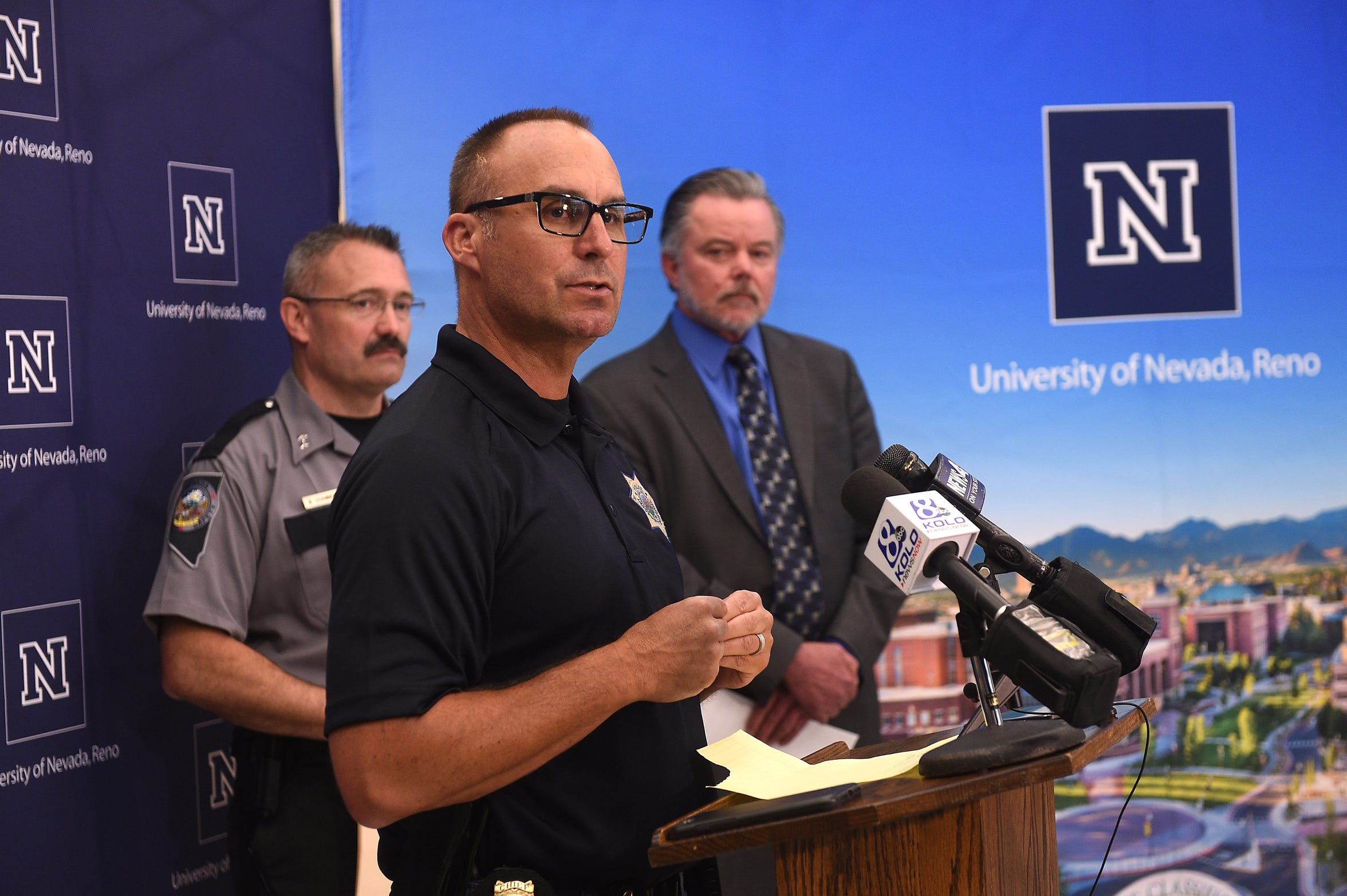 UNR Police Chief Todd Renwick speaks in regard to the explosion at Argenta Hall during a press conference on the campus of the University of Nevada, Reno on July 9, 2019.