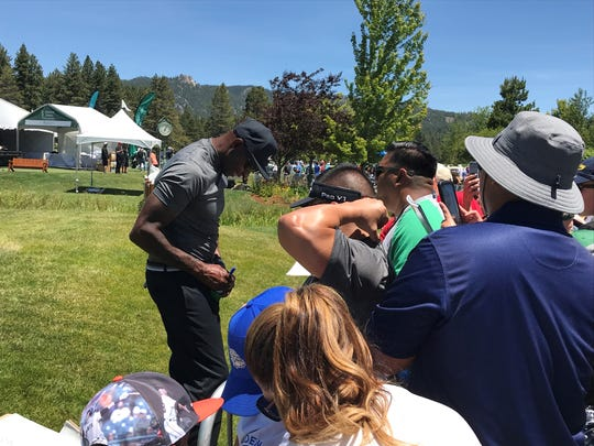 Jerry Rice signs autographs on Tuesday at Edgewood-Tahoe.