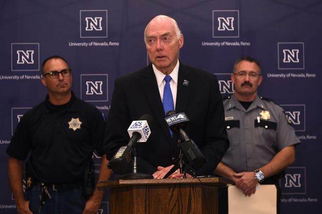 President Marc Johnson speaks in regard to the explosion at Argenta Hall during a press conference on the campus of the University of Nevada, Reno on July 9, 2019.