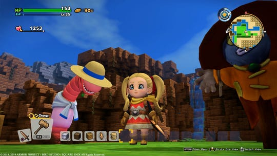 This giant worm with the Luffy hat is integral to farming in 'Dragon Quest Builders 2' for the PS4 and Nintendo Switch.