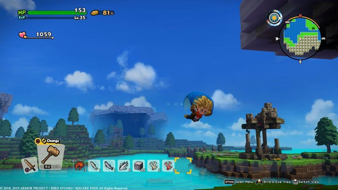 Glide through the skies in Dragon Quest Builders 2 for the PS4 and Nintendo Switch.