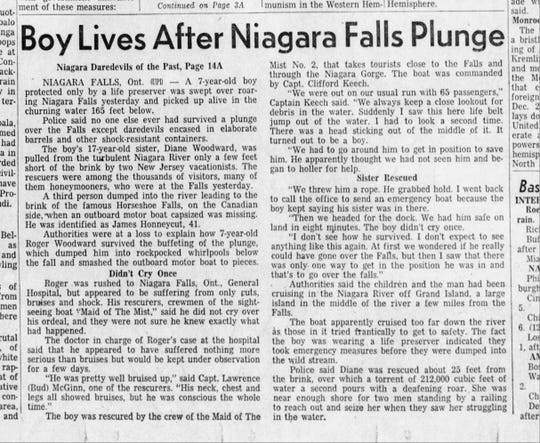 7-year-old Roger Woodward survived a plunge over the famous Horseshoe Falls in July, 1960.