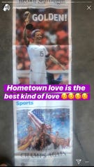 "In a story Megan Rapinoe shared with her followers on Instagram on Monday, July 8, 2019, the soccer superstar said, ""Hometown love is the best kind of love"" and used the front page and sports page of the Record Searchlight as her background."