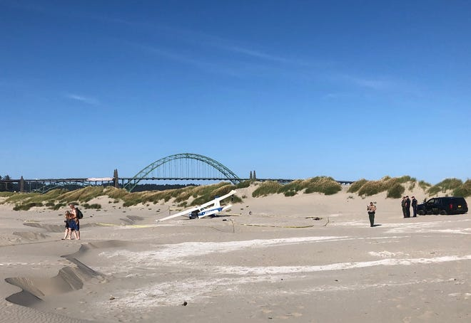 A plane crashed on a beach south of Newport Monday, July 8, 2019.