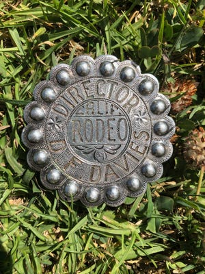 Donald F. Davies' California Rodeo Salinas badge, which was found on Rossi Street after being lost by his family for over a year.