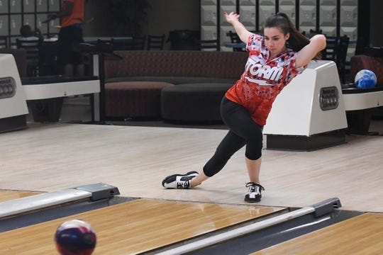 Sydney Hollinger practices at Millsboro Lanes before he will be heading to USBC Junior Gold Championships in Detroit, Michigan.