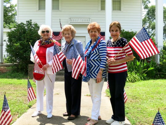 Let's hear it for the red, white and blue of America: Ann Walke, Beverly Springmeyer, Evelyn Quinn, Julia Sipple at the Guths' July 2 Lunch at Fairview Farm.