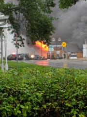 Fire crews battle a blaze in Colton on Tuesday morning.