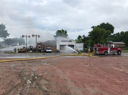 Aftermath of a fire at Matr's Garage in Colton on Tuesday morning.