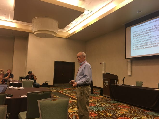 Ed Moses, a retired Missouri State Highway Patrol officer, gives a talk on the dangers of marijuana at the Safe Schools & Colleges Conference held at Oasis Conference Center, July 9, 2019 in Springfield.