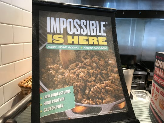 "The Qdoba at 401 S. Kimbrough Ave., at Walnut Street, has plant-based ""meat"" for other entrees. But it  does not offer Impossible Burgers."