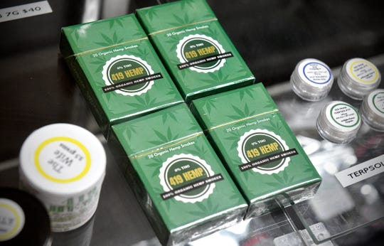 Organic hemp smokes are on display Tuesday, July 9, 2019, at 419 Hemp in St. Cloud.