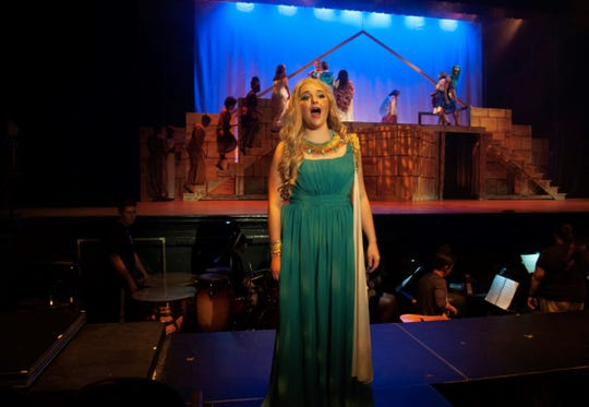 "Amneris (Madison Ducatt) sings about her dissatisfaction in the Leon Performing Arts multi-school summer production of ""Aida."""