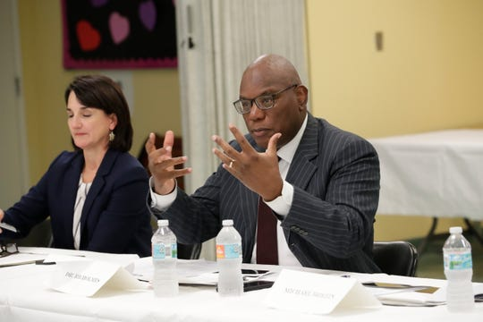 R.B. Holmes Jr., pastor at Bethel Missionary Baptist Church, speaks as a 10-member task force created to remove racist language from property covenants in some Tallahassee neighborhoods met at Bethel Family Life Center Tuesday, July 9, 2019.
