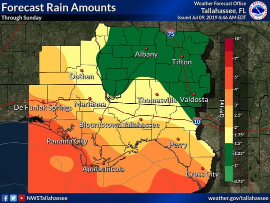 The National Weather Service has ratcheted down rainfall totals for the Tallahassee area.