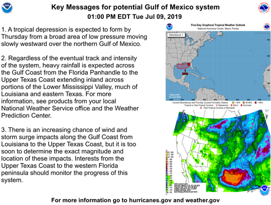 Tropical conditions in the Gulf of Mexico as of 2 p.m. July 9, 2019.